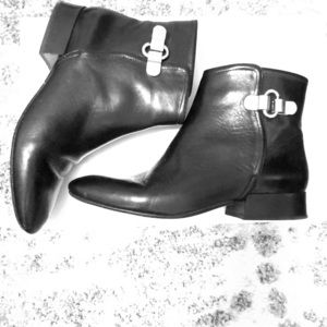 Joie Black leather booties w/ buckle detail